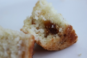 Vanilla cupcake studded with dried figs