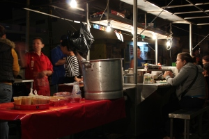 The best street vendor EVER!  Hot papas with a huge selection of salsas and icy homemade rice milk (in the vat, there)