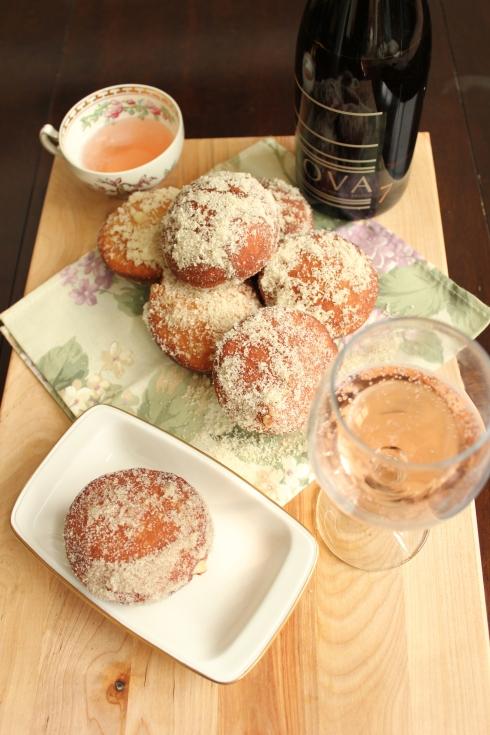 Double Rhubarb White Chocolate filled doughnuts | www.purplehousecafe.com
