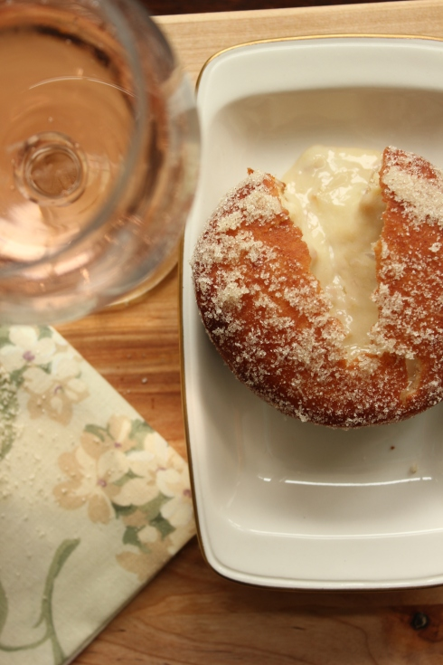 Double Rhubarb Cream-filled Doughnuts | www.purplehousecafe.com
